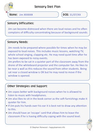 Sensory Diet Form Example