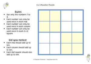 4x4 Number Puzzle Blank