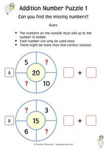 Addition Number Puzzles 1