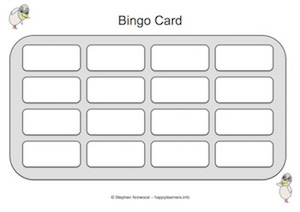 4x4 bingo template - miscellaneous learning resources