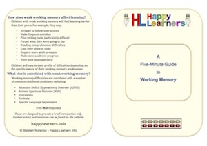 Five Minute Guide to Working Memory