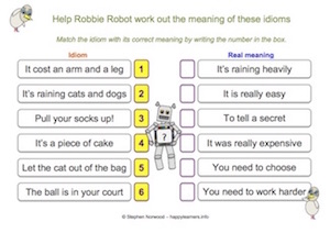Idioms – word lists, worksheets, activities, and more | Free ...