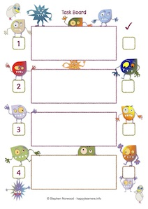 Monster 4 Step Task Board