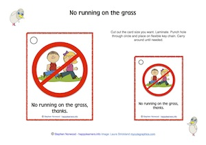 No running on grass cards