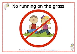 No running on grass