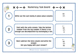 Numeracy Task Board Example