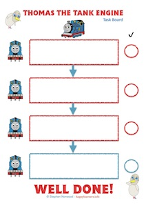 Thomas The Tank Engine 1234 Task Board