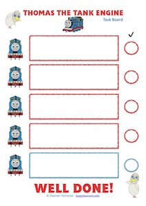 Thomas The Tank Engine 12345 Task Board