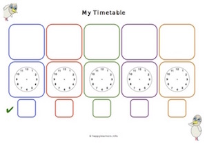Visual Timetable with Clock Faces and Tick Boxes