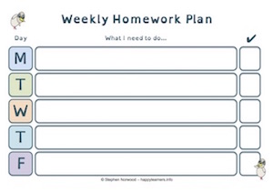 Weekly Homework Plan