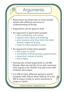 Arguments Social Story Example