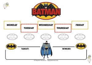 Batman Reward Chart 5 Days