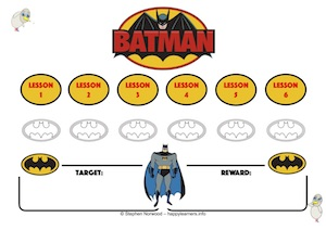 Batman Reward Chart 6 Lessons