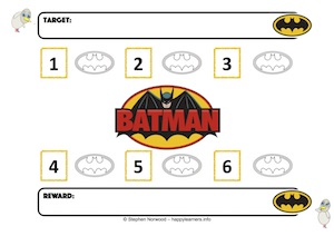 Batman Reward Chart 6 Numbers