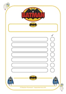 Batman Reward Chart 7 blanks