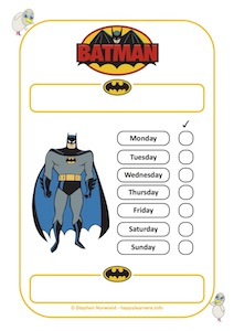 Batman Reward Chart 7 Days