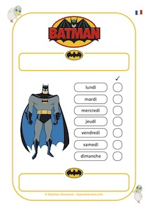 Batman Reward Chart 7 Days French