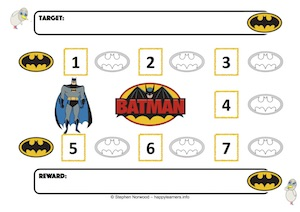 Spiderman Reward Chart 7 Numbers