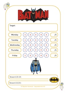 Batman Reward Chart Weekly 25 Sessions