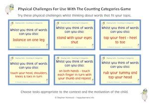 Counting in Categories Physical Challenges Cards