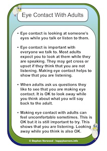 Eye Contact With Adults Social Story