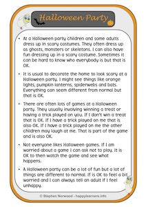 Halloween Party Social Story Example