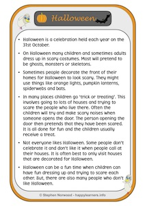 Halloween Social Story Example