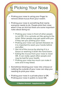 Picking Your Nose 1 Social Story Example