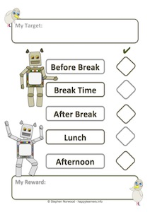 Robot Reward Chart - 5 Sessions