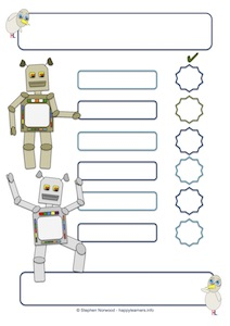 Robot Reward Chart 6 Blanks