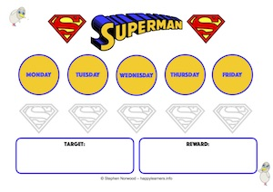 Superman Reward Chart 5 Days