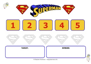 Superman Reward Chart 5 Numbers