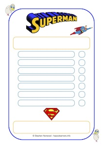 Superman Reward Chart 7 blanks