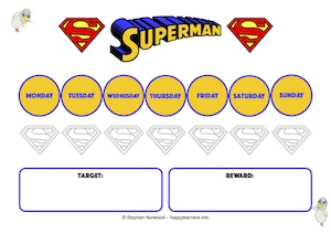 Superman Reward Chart 7 Days