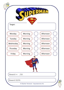 Superman Reward Chart Weekly 10 Sessions
