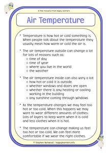 Air Temperature Social Story Example